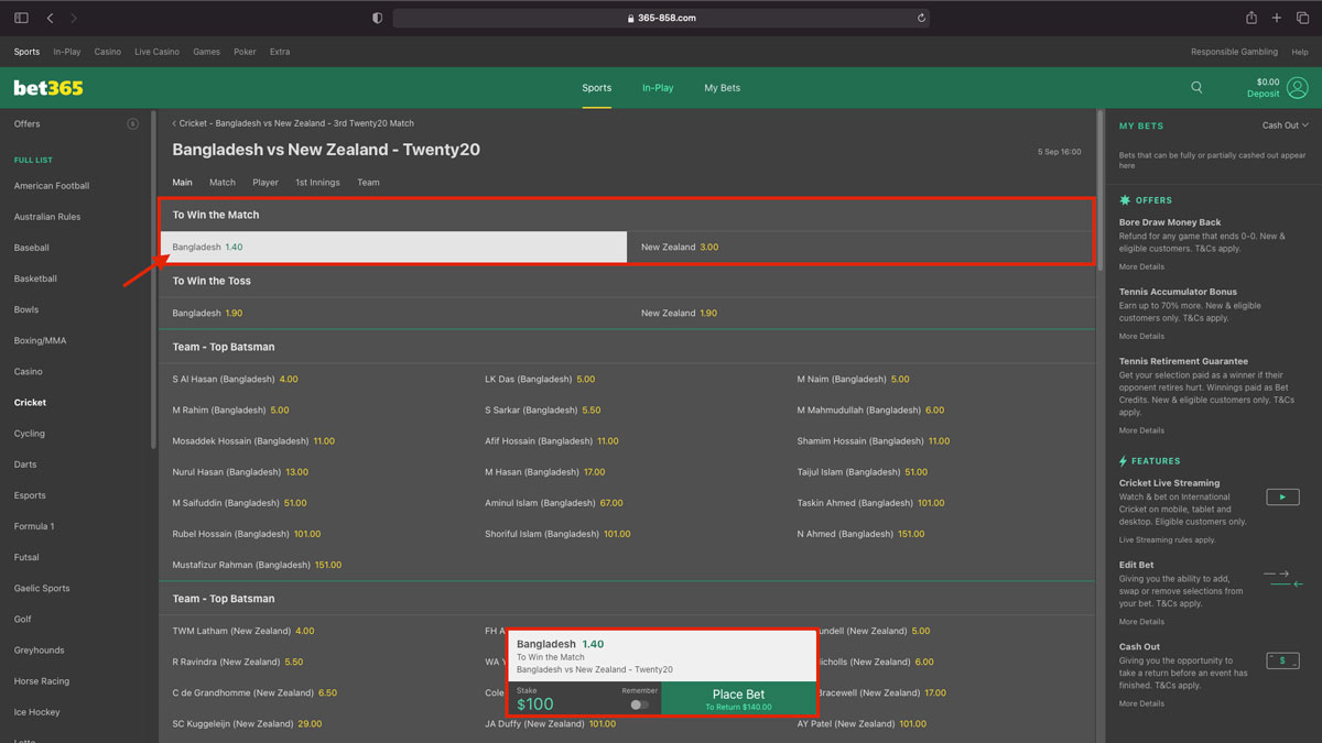 How to place a bet in bet365